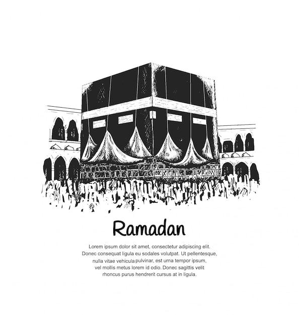 Projekt Ramadanu Z Kaabą Premium Wektorów