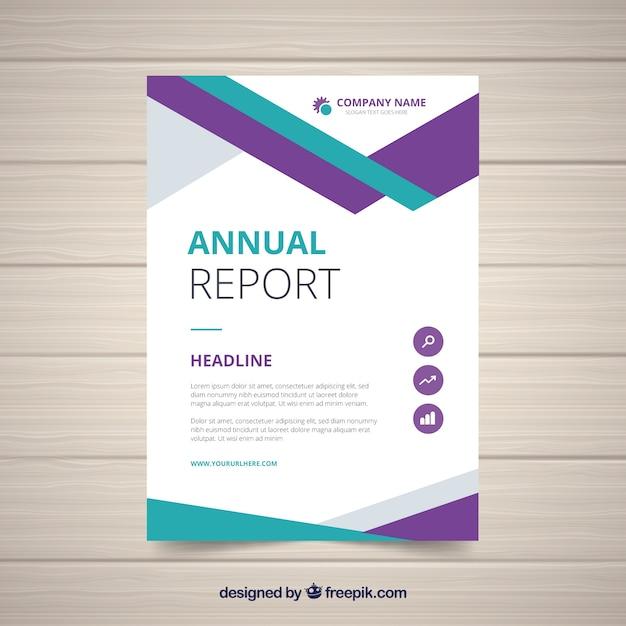 Projekt raportu rocznego w geometrycznym stylu Darmowych Wektorów