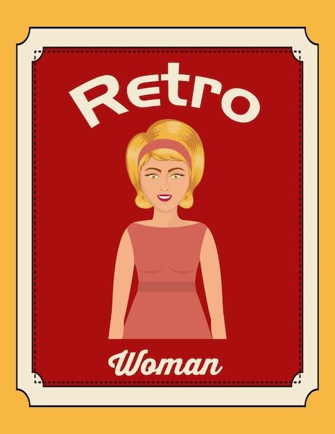 Projekt Retro Kobieta Premium Wektorów