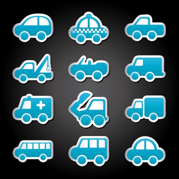 Projekt samochodów na czarnym tle ilustracji wektorowych Premium Wektorów