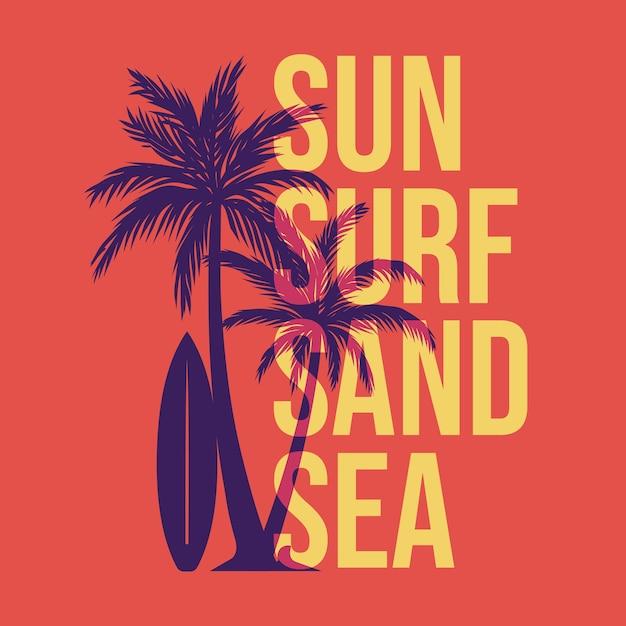 Projekt Słońce Surf Piasku Morze Z Sylwetka Palmy I Płaską Ilustracją Deski Surfingowej Premium Wektorów