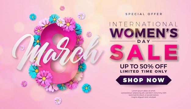 Projekt Sprzedaży Dzień Kobiet Z Kwiatem Na Różowym Tle Premium Wektorów