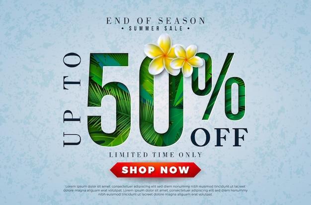 Projekt sprzedaży latem z kwiatów i tropikalnych liści palmowych Premium Wektorów