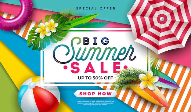 Projekt Sprzedaży Transparent Lato Z Piłki Plażowej, Parasol I Egzotycznych Liści Palmowych Darmowych Wektorów