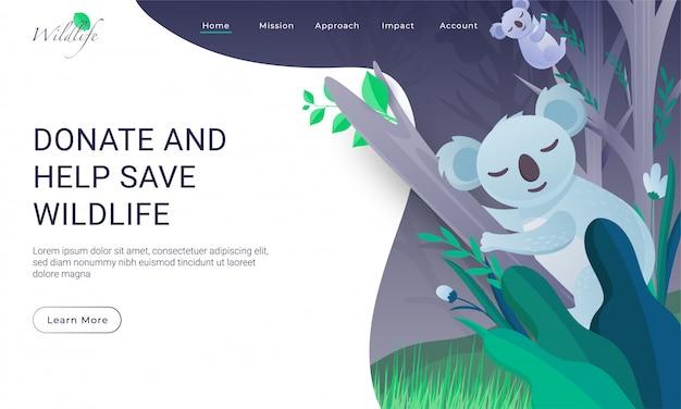 Projekt Strony Docelowej Z Dwoma Drzewami Wspinaczkowymi Koala W Celu Przekazania Darowizny I Pomocy W Ratowaniu Dzikiej Przyrody. Premium Wektorów
