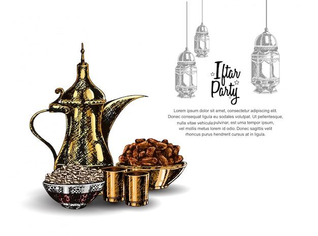 Projekt strony iftar z latarnią Premium Wektorów