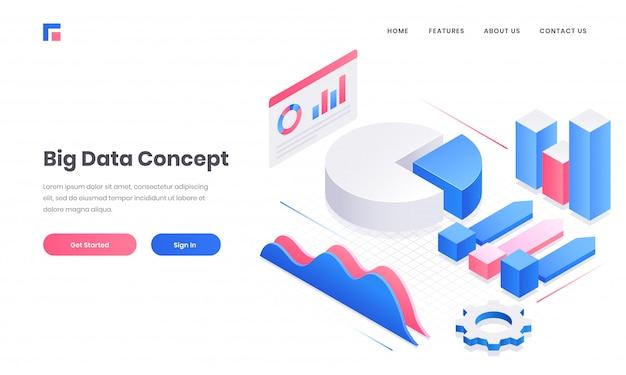 Projekt strony internetowej lub strony docelowej big data concept z elementami 3d infographic Premium Wektorów
