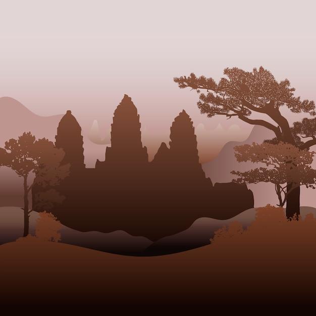 Projekt świątyni Angkor Wat Wektor Wzór Darmowych Wektorów