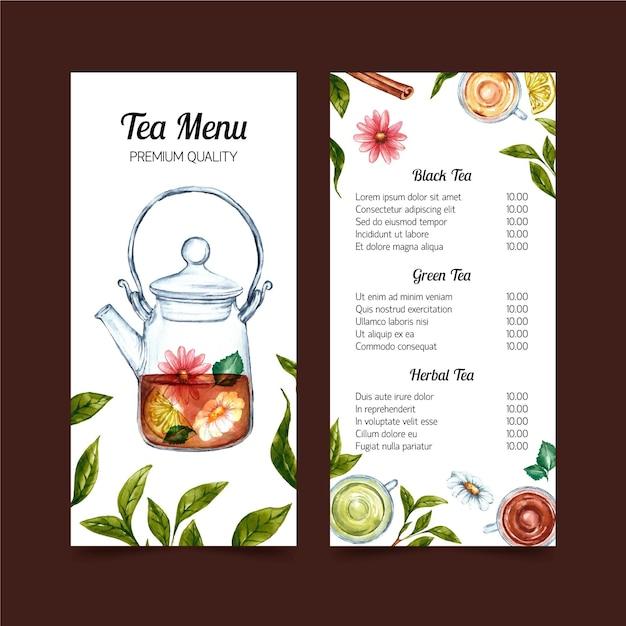 Projekt Szablonu Akwarela Menu Herbaty Darmowych Wektorów