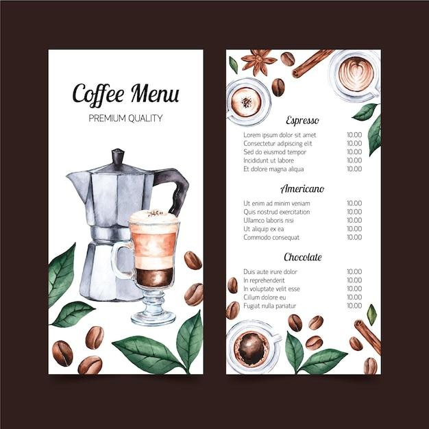 Projekt Szablonu Akwarela Menu Kawy Darmowych Wektorów