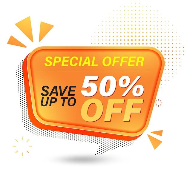 Projekt Szablonu Banera Sprzedaży, Oferta Specjalna Sprzedaży Zaoszczędź Do 50%. Premium Wektorów