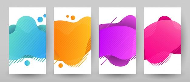 Projekt Szablonu Banery Z Abstrakcyjnym Płynnym Kolorze. Zestaw Promocyjny Flash Sprzedaż Premium Wektorów