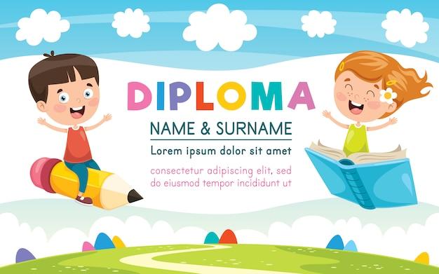 Projekt szablonu certyfikatu dyplomowego dla edukacji dzieci Premium Wektorów