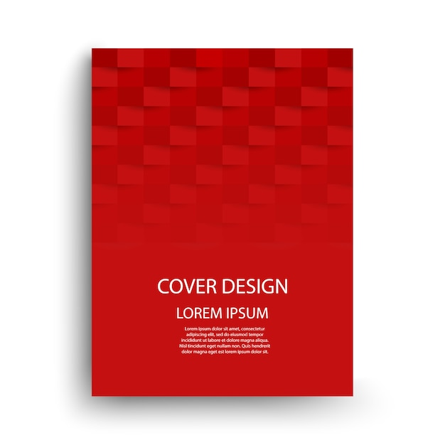 Projekt Szablonu Czerwonej Okładki Z Geometrycznymi Kształtami Premium Wektorów