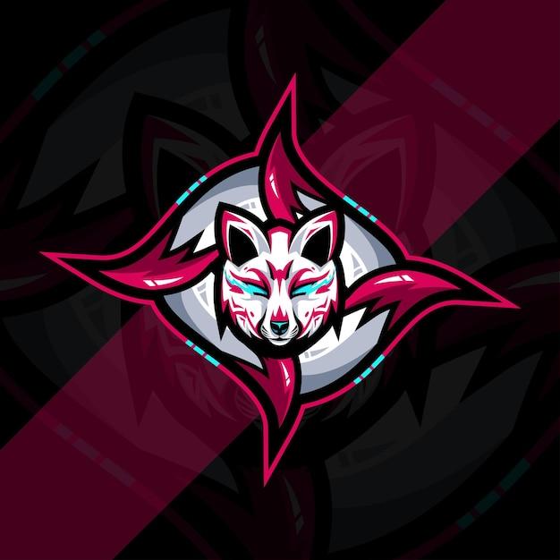 Projekt Szablonu E-sportowego Logo Maskotki Kitsune Premium Wektorów