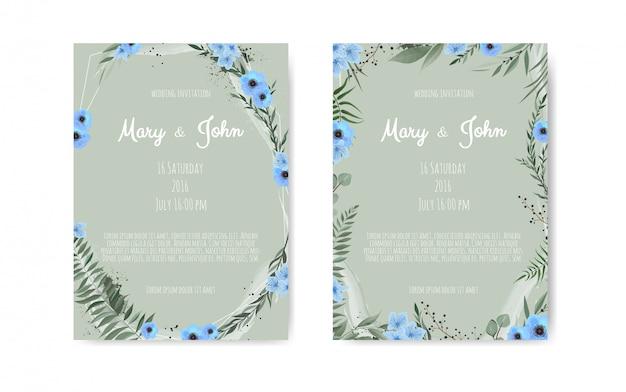 Projekt szablonu karty zaproszenie ślubne botaniczny Premium Wektorów