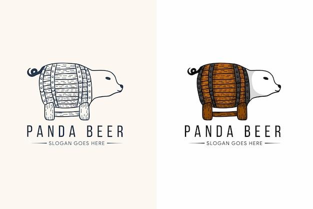 Projekt Szablonu Logo Piwa Panda W Stylu Linii I Odważnym Kolorze. Premium Wektorów