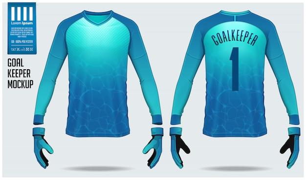 Projekt szablonu makieta bramkarza koszulki lub piłki nożnej. Premium Wektorów