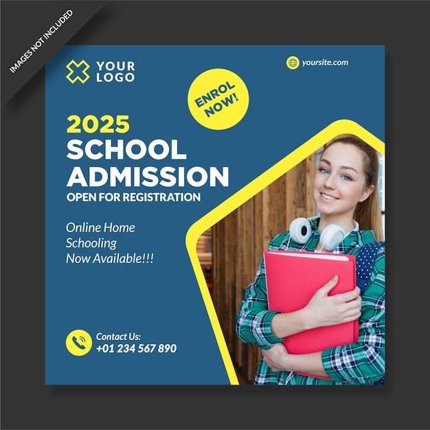 Projekt Szablonu Nstagram Przyjęcia Do Szkoły Premium Wektorów