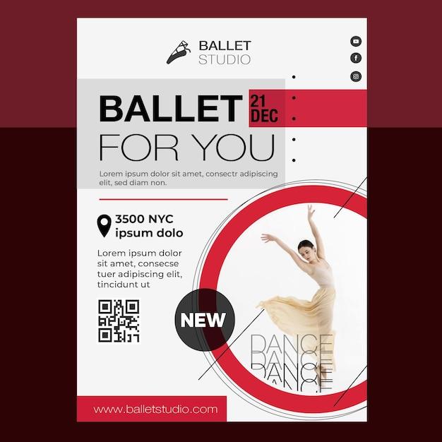 Projekt Szablonu Plakatu Lekcji Baletu Darmowych Wektorów