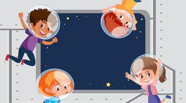 Projekt Szablonu Ramy Z Dziećmi W Przestrzeni Kosmicznej Premium Wektorów