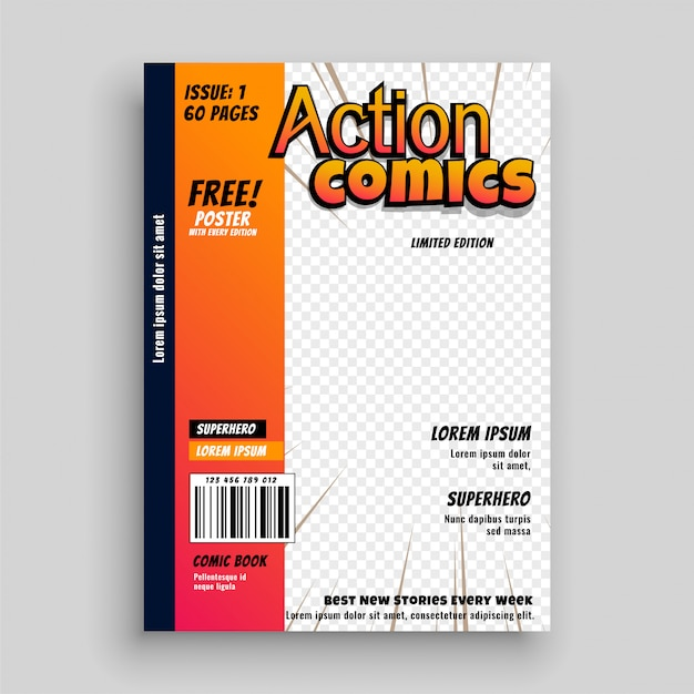 Projekt szablonu strony tytułowej komiksu Darmowych Wektorów