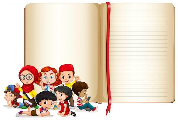 Projekt szablonu transparent z chłopców i dziewcząt Darmowych Wektorów