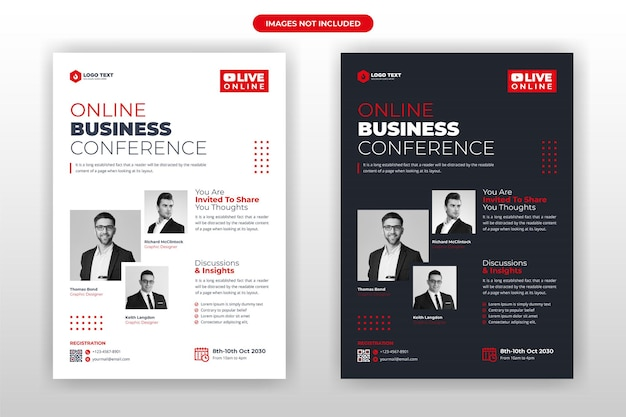 Projekt Szablonu Ulotki Konferencji Biznesowej Online Premium Wektorów