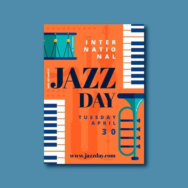 Projekt Szablonu Ulotki Międzynarodowy Dzień Jazzu Darmowych Wektorów