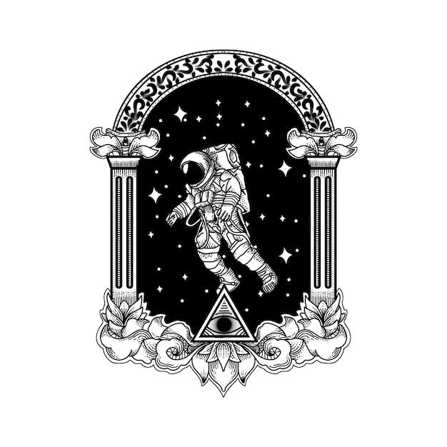 Projekt Tatuażu I Koszulki Astronauta Premium Wektorów