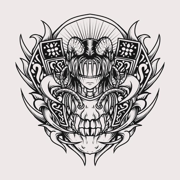 Projekt Tatuażu I Koszulki Czarno-białe Ręcznie Rysowane Ilustracji Czaszka I Diabeł Kobiety Grawerowania Ornament Premium Wektorów