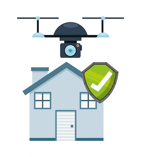 Projekt technologii dronów jako koncepcja czujności ubezpieczenia domu Darmowych Wektorów