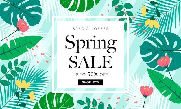 Projekt Tła Sprzedaż Wiosna Premium Wektorów