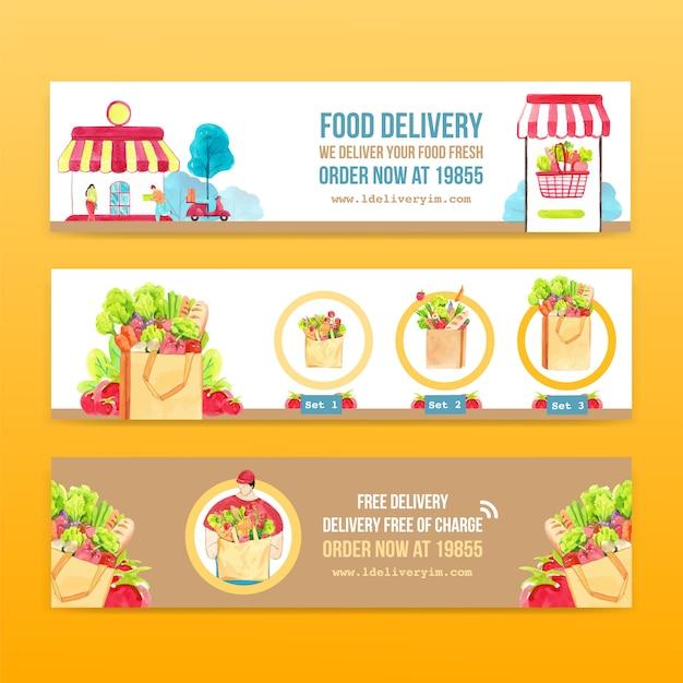 Projekt Transparent Dostawy Z żywności, Warzyw, Transportu I Logistycznej Ilustracji Akwarela. Darmowych Wektorów