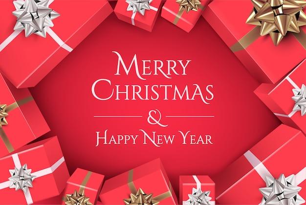 Projekt Transparentu Bożego Narodzenia Z Napisem Wesołych świąt I Szczęśliwego Nowego Roku Na Czerwonym Tle Premium Wektorów