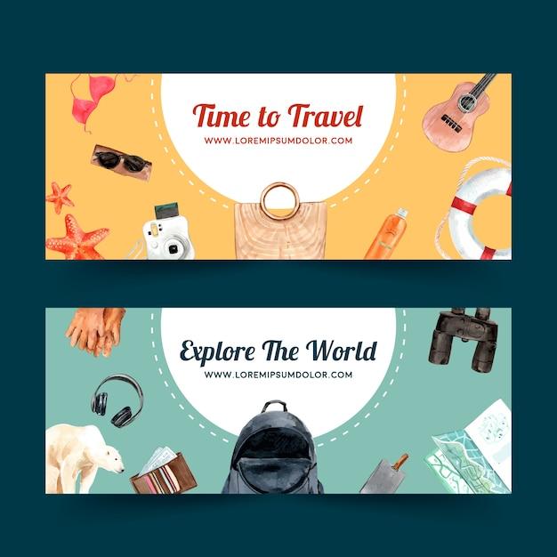 Projekt Transparentu Dzień Turystyki Z Plaży, Piłki Plażowej, Bikini, Okulary Przeciwsłoneczne Darmowych Wektorów