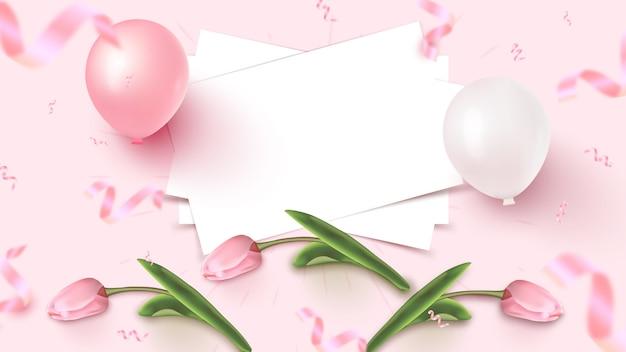 Projekt Transparentu Wakacje Z Białą Pościelą, Różowe I Białe Balony, Spadające Konfetti Foliowe I Tulipany Na Różowym Tle. Dzień Kobiet, Dzień Matki, Urodziny, Szablon Rocznicy. Ilustracja Premium Wektorów