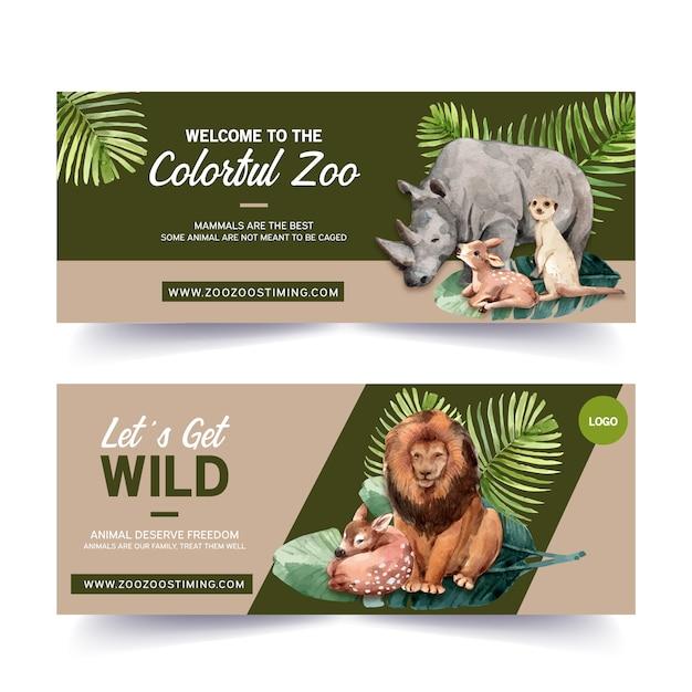 Projekt Transparentu Zoo Z Nosorożca, Jelenia, Surykatki, Lew Akwarela Ilustracja. Darmowych Wektorów