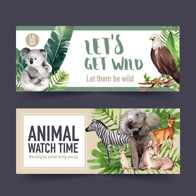 Projekt Transparentu Zoo Z Zebry, Koala, Surykatka Akwarela Ilustracja. Darmowych Wektorów