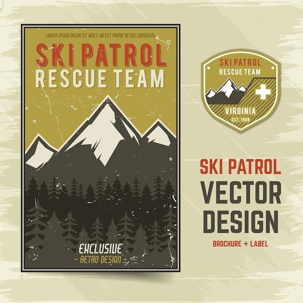 Projekt ulotki broszury vintage adventure z górami i tekstem, patrol narciarski, zespół ratowniczy Premium Wektorów