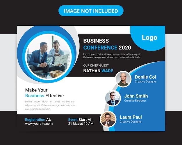 Projekt Ulotki Korporacyjnej Konferencji Biznesowej Poziomej Premium Wektorów