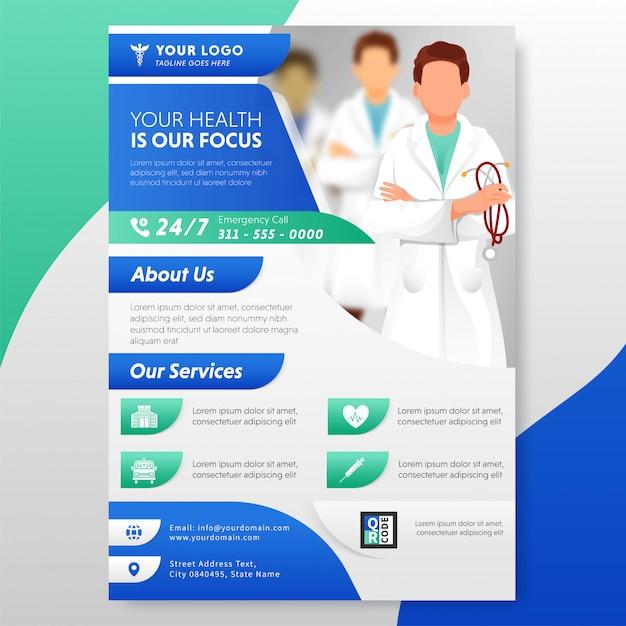Projekt Ulotki Lub Szablonu Opieki Zdrowotnej Z Podaną Usługą Publikacji. Premium Wektorów