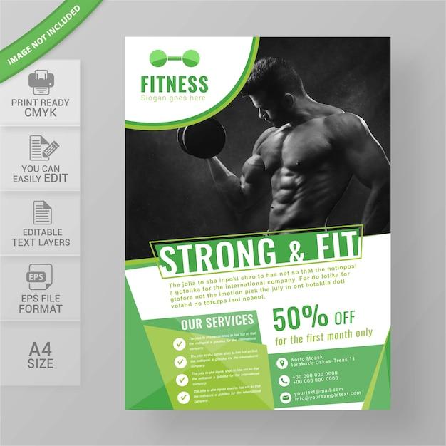 Projekt ulotki siłowni fitness Premium Wektorów