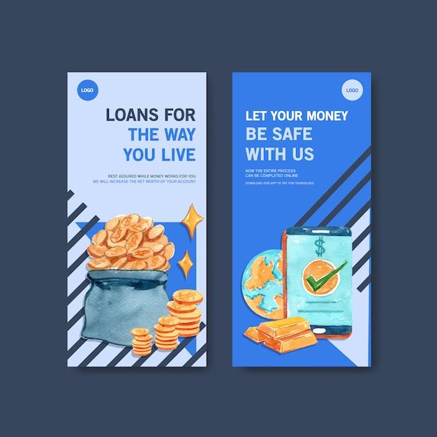 Projekt Ulotki Z Ilustracji Akwarela, Biznes, Waluty I Bankowości. Darmowych Wektorów