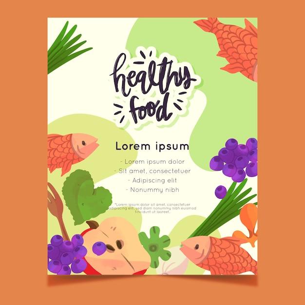 Projekt Ulotki Zdrowej żywności Darmowych Wektorów