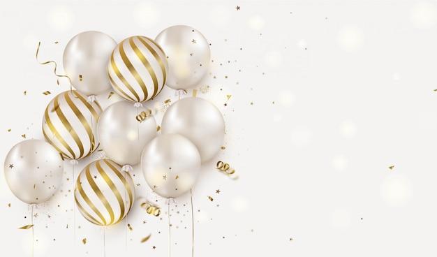 Projekt Uroczystości Z Białymi Balonami Helowymi Na Białym. Rocznica. Kartkę Z życzeniami Wszystkiego Najlepszego. Premium Wektorów