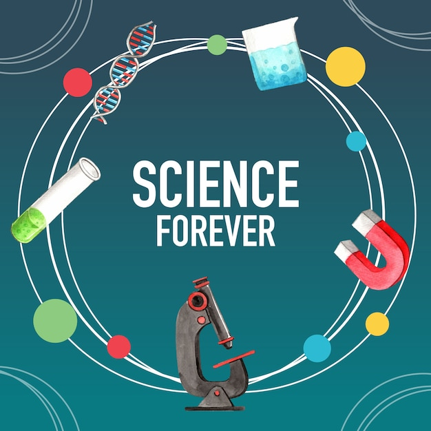 Projekt Wieńca Naukowego Z Probówką, Akwarela Ilustracji Mikroskopu, Darmowych Wektorów