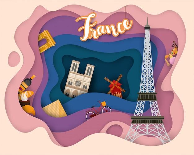 Projekt wycinanki papierowej tourist travel france Premium Wektorów