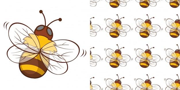Projekt Z Bezszwowym Wzorem Pszczoły Miodnej Darmowych Wektorów