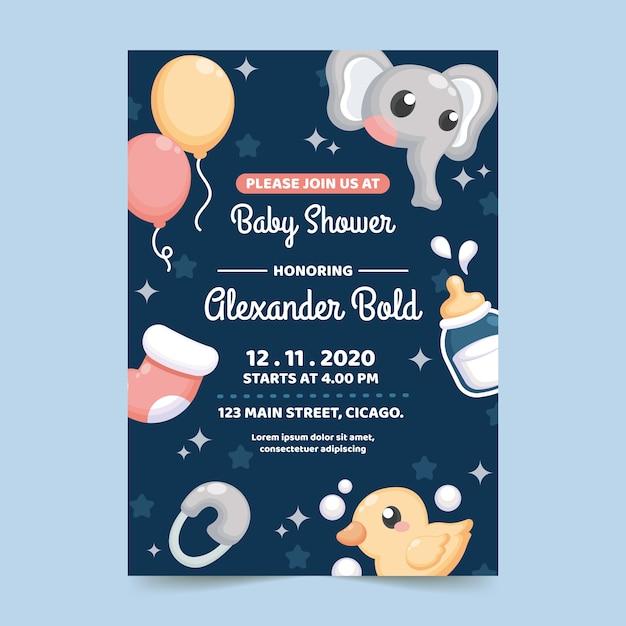 Projekt Zaproszenia Baby Shower Darmowych Wektorów